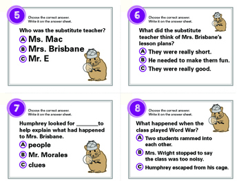 Mysteries According to Humphrey Task Cards By Betty G. Birney