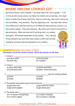 Mysteries - Where Did the Cookies Go? - Grade 1