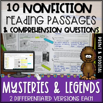 Mysteries and Legends Nonfiction Passages and Questions - Print and Digital