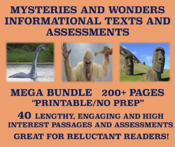 Reluctant Readers: Mysteries and Wonders Passages and Assessments MEGA BUNDLE!