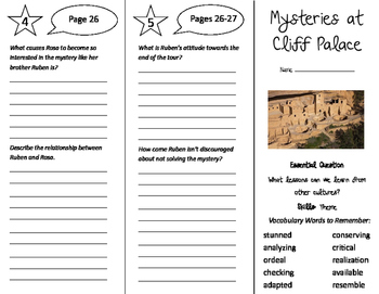 Mysteries at Cliff Palace Trifold - Journeys 5th Grade Uni