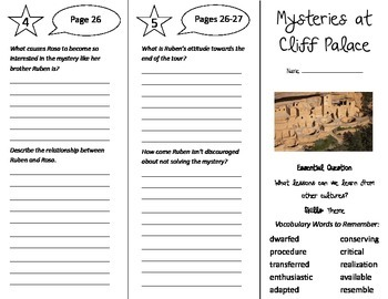 Mysteries at Cliff Palace Trifold - Journeys 5th Gr Unit 6 Week 2 (2014, 2017)