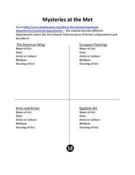 Mysteries at The Met Webquest