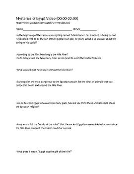 Mysteries of Egypt Video Handout