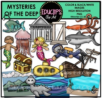 Mysteries of The Deep Clip Art Bundle {Educlips Clipart}