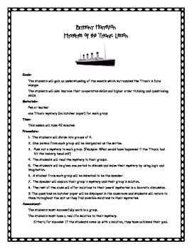 Mysteries of the Titanic-Small Group Socratic Seminar