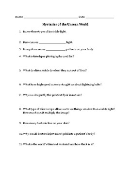 Mysteries of the Unseen World Guided Notes