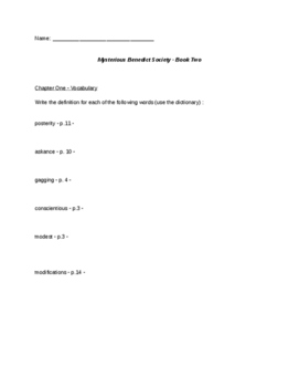 Mysterious Benedict Society Book 2 Chapters 1-3 Study questions Editable