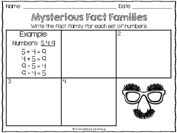 Mysterious Fact Families - Addition and Subtraction Fact Family Practice