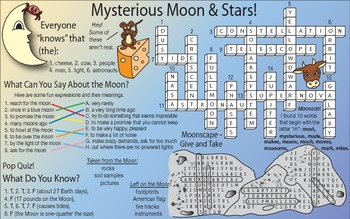 Mysterious Moon and Stars Two-Page Activity Set