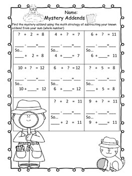 Addition-Subtraction-Mystery Addends - Find the Missing Addend (within 12)