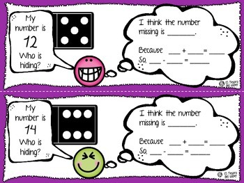 Mystery Addends - Math Task Cards for Firsties