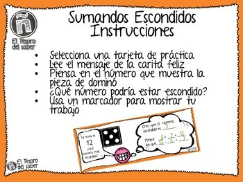 Mystery Addends - Math Task Cards for Firsties SPANISH