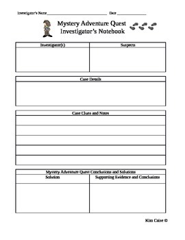 Mystery Adventure Quest Investigator's Notebook Page