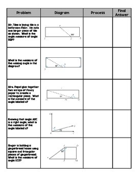 Mystery Angle Measures (with word problems and diagrams)