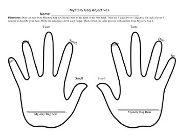 Mystery Bag Adjective Hands (5 senses)