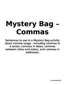 Mystery Bag Sentences - Commas