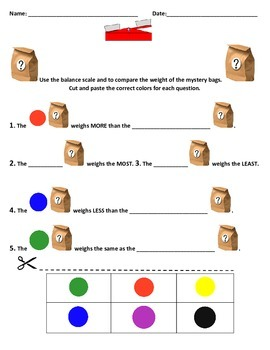 Mystery Bag Weight Measurement and Balance Scale Activity