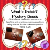Mystery Beads: Equations with Variables Letters for Unknown TEKS 5.4B QR Codes
