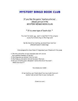 The Mystery * Bingo Book Club