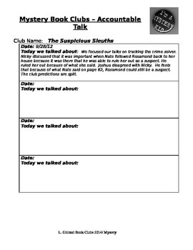 Mystery Book Club Student Accountability Sheet