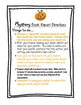 Mystery Book Report Directions & Rubric