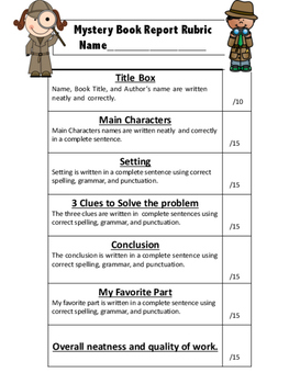 Mystery Book Report Form
