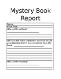 Mystery Book Report Template