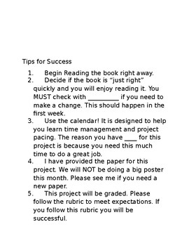 Mystery Book Report - includes example, rubric and tips for success