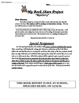 Mystery Book Report  or Book Speech and Project