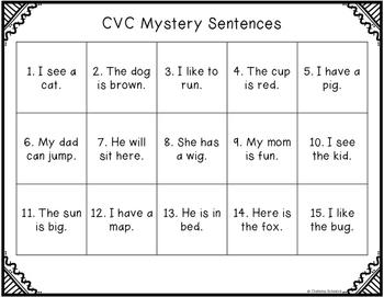 Mystery CVC Sentences (No Prep!)