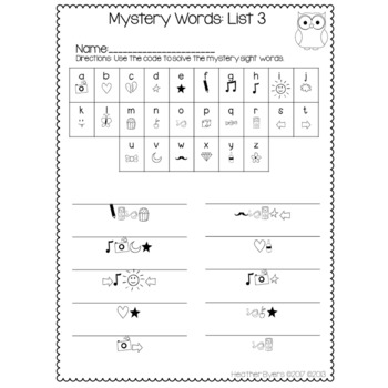 Mystery Code Words (Fry's 1st 100 Words)