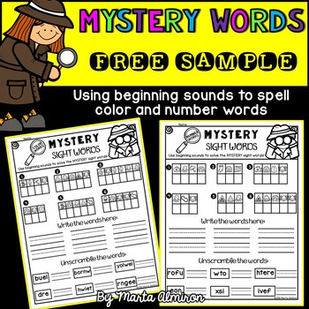 Mystery Color and Number Words - FREEBIE