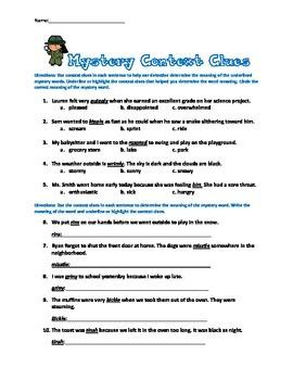 Mystery Context Clues Sentences