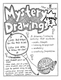 Mystery Drawings round 2  - for the K-5 art room or classroom, 5 new drawings
