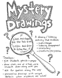 Mystery Drawings - set of five, K-5 classroom or art room activity