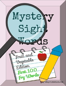 Mystery First 100 Fry Sight Words - Fruit and Vegetable Edition