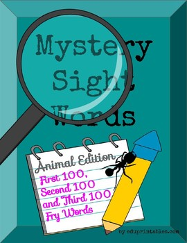 Mystery First 100 Second 100 and Third 100 Fry Sight Words-Animal Edition BUNDLE