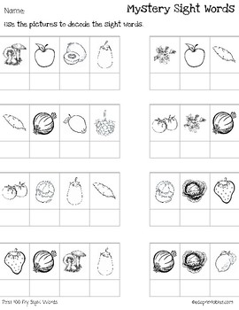 Mystery First 100 Second 100 and Third 100 Fry Sight Words-Fruit and Veg BUNDLE