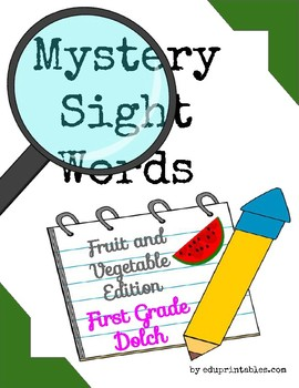 Mystery First Grade Dolch Sight Words - Fruit and Vegetable Edition