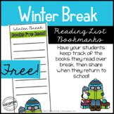 Free Winter Break Reading List Bookmarks | Grades 3-5