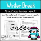 Free Winter Break Reading Homework Packet (Paper Saving) |