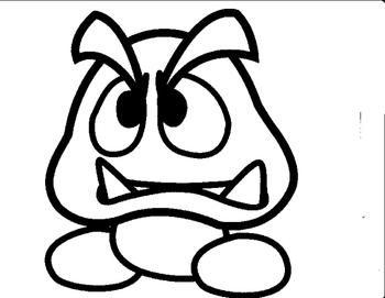 Mystery Goomba Mario Grid Drawing