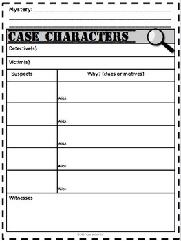 Mystery Graphic Organizers - 14 Pages