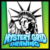 Mystery Grid Art Worksheet - Statue of Liberty
