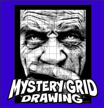 Mystery Grid Drawing Art Project - Craggy Face