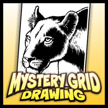 Mystery Grid Drawing Art Project - Lioness
