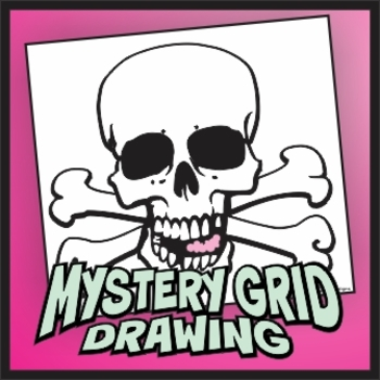 Mystery Grid Drawing - Gum Skull