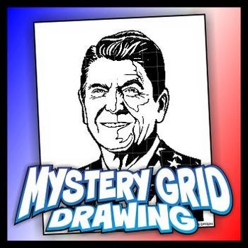 Mystery Grid Drawing President 40 Ronald Reagan