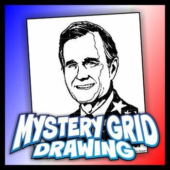 Mystery Grid Drawing President 41 George HW Bush